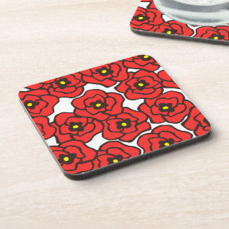 モダンで赤いケシの花のコースター(6)の置いて下さい コースター