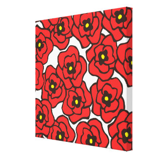 モダンで赤いケシの花柄のキャンバスの壁の芸術 キャンバスプリント
