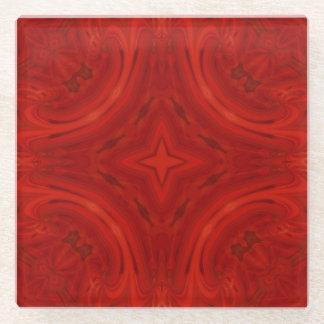 モダンで赤い木製パターン ガラスコースター