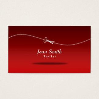 モダンで赤い美容師の名刺 名刺