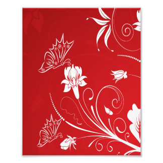 モダンで赤く及び白い花柄 フォトプリント