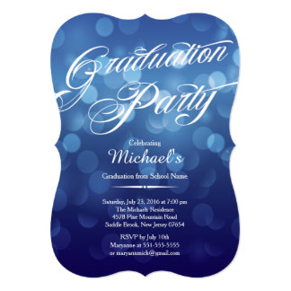 モダンで青いタイポグラフィの《写真》ぼけ味の卒業パーティー カード