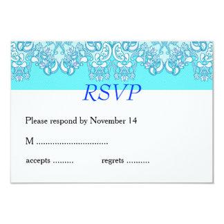モダンで青いダマスク織の結婚式 カード