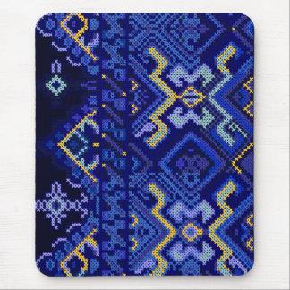 モダンで青い十字のステッチの刺繍のマウスパッド マウスパッド