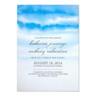 モダンで青い水彩画の結婚式招待状 カード