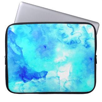 モダンで青い海の手塗りの水彩画 ラップトップスリーブ