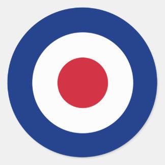モダンで青い赤と白の円形のステッカー ラウンドシール