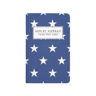 モダンで青および白い星パターン ポケットジャーナル