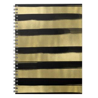 モダンで魅力的な黒及び金ゴールドのブラシの打撃のストライプの上品 ノートブック