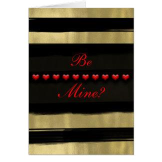 モダンで魅力的な黒及び金ゴールドの赤いハートのバレンタイン カード