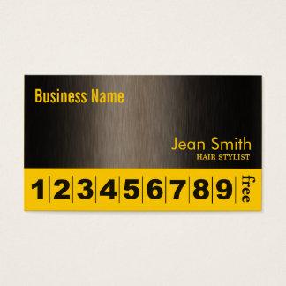 モダンで黄色いブルネットのヘアーサロンのロイヤリティカード 名刺