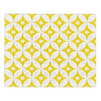 モダンで黄色および白い円の水玉模様パターン ジグソーパズル