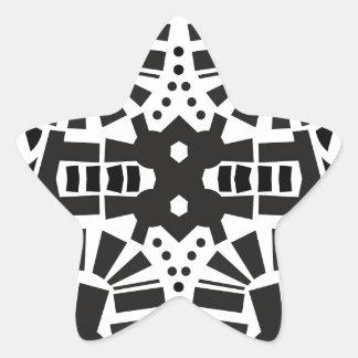 モダンで黒く及び白く幾何学的なパターン 星シール