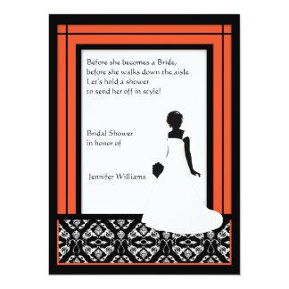 モダンで黒く、白い及びオレンジダマスク織のブライダルシャワー カード