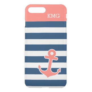 モダンないかりのモノグラムの珊瑚海軍はパターンを除去します iPhone 8 PLUS/7 PLUS ケース