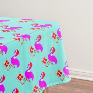 モダンなおもしろいのピンクのフラミンゴのメリークリスマス テーブルクロス