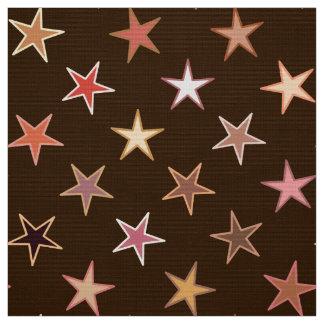 モダンなきらめく星、チョコレート色およびタン ファブリック