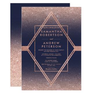 モダンなのどのばら色の金ゴールドのダイヤモンドの青い結婚式 カード