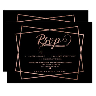 モダンなのどのばら色の金ゴールドの原稿幾何学的なRSVP カード
