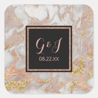 モダンなのどのばら色の金ゴールドの大理石のモノグラムの結婚式 スクエアシール