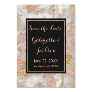 モダンなのどのばら色の金ゴールドの大理石の保存日付の結婚式 カード