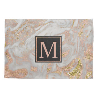 モダンなのどのばら色の金ゴールドの大理石の渦巻のモノグラム 枕カバー