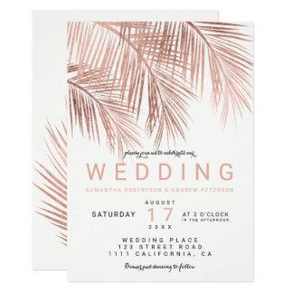 モダンなのどのばら色の金ゴールドの熱帯ヤシの木の結婚式 カード