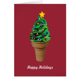 モダンなアイスクリームのクリスマスツリーの挨拶状 カード