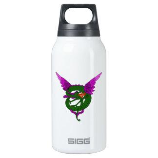 モダンなアールヌーボーの緑および紫色のドラゴン 断熱ウォーターボトル