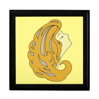 モダンなアールヌーボーの長い毛(2)を搭載する女性 ギフトボックス