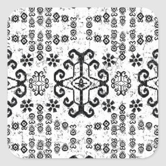 モダンなイカットBOHO白黒パターン スクエアシール