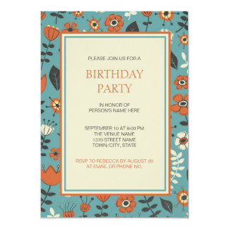モダンなオレンジ及び青の花の誕生会 カード