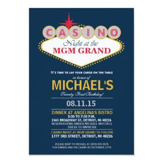モダンなカジノのディナー・パーティの誕生日の招待 カード