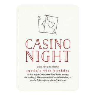 モダンなカジノ夜パーティの招待状 カード