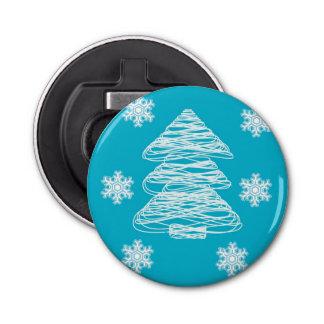 モダンなクリスマスツリーおよび雪片 栓抜き