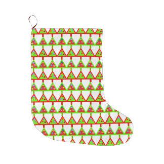 モダンなクリスマスツリーパターン ラージクリスマスストッキング