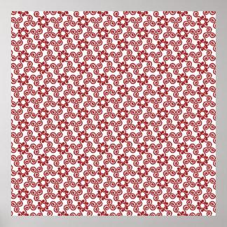 モダンなクリスマス赤いスクロールパターン ポスター
