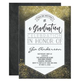 モダンなグリッターの金ゴールドの卒業生のお祝いの発表 12.7 X 17.8 インビテーションカード