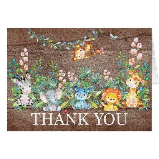 モダンなサファリのジャングルのベビーシャワーはノート感謝していしています ノートカード
