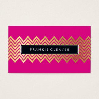 モダンなシェブロンパターン粋な金ゴールドの明るいピンク 名刺