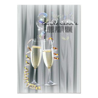モダンなシャンペンガラスの休日のパーティ カード