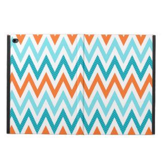 モダンなジグザグ形のシェブロンのオレンジ水の青パターン POWIS iPad AIR 2 ケース