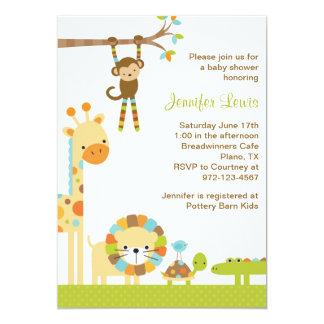 モダンなジャングルサファリのベビーシャワーの招待状 カード