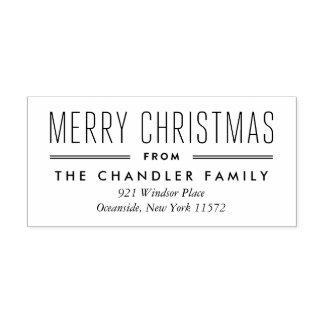 モダンなタイプクリスマスの差出人住所のスタンプ ラバースタンプ