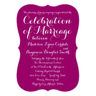 モダンなタイポグラフィのマゼンタの結婚式招待状 12.7 X 17.8 インビテーションカード
