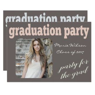 モダンなタイポグラフィの卒業パーティーの写真 カード