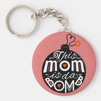モダンなタイポグラフィの母の日のかわいいお母さんdaは爆撃します キーホルダー