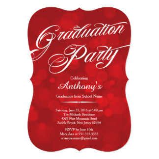 モダンなタイポグラフィの赤い《写真》ぼけ味の卒業パーティー カード