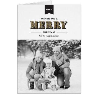 モダンなタイポグラフィの黒および金ゴールドのクリスマスカード カード