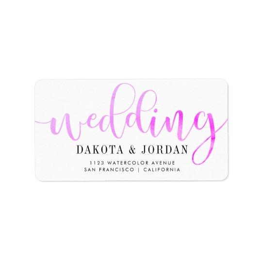 モダンなタイポグラフィ の紫色の水彩画の結婚式 ラベル